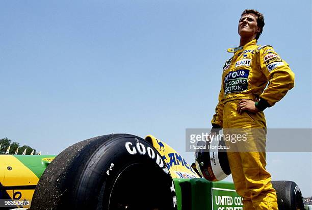 Michael Schumacher driver of the BenettonFord B192 during practice for the San Marino Grand Prix on 17th May 1992 at the Autodromo Enzo e Dino...