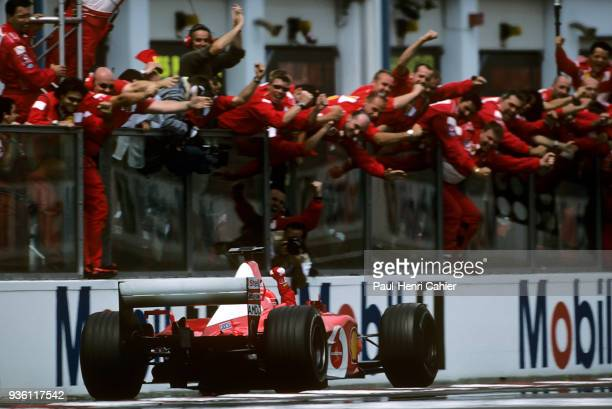 Michael Schumacher Ferrari F2002 Grand Prix of France Circuit de Nevers MagnyCours 21 July 2002 Michael Schumacher claims victory in the 2002 French...