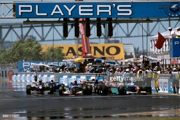Michael Schumacher Jean Alesi SauberPetronas C16 Grand Prix of Canada Circuit Gilles Villeneuve 15 June 1997 Red flag after Olivier Panis had a bad...