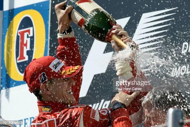 Michael Schumacher, Jean Todt, Grand Prix of San Marino, Autodromo Enzo e Dino Ferrari, Imola, 23 April 2006. Michael Schumacher celebrating his...