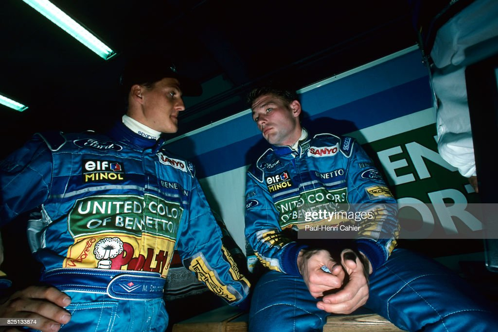 Michael Schumacher, Jos Verstappen, Grand Prix of France, Magny-Cours, 03 July 1994. Michael Schumacher with teammate Jos Verstappen.
