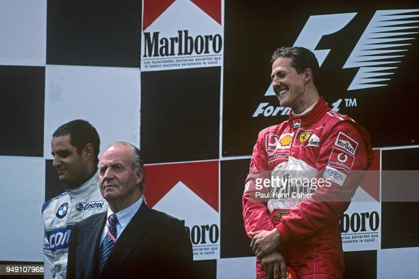 Michael Schumacher Juan Carlos King of Spain Juan Pablo Montoya Grand Prix of Spain Circuit de BarcelonaCatalunya 28 April 2002 Michael Schumacher...