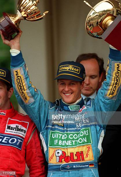 Michael Schumacher of Benetton celebrates victory in the Monaco Grand Prix in Monte Carlo his fourth Championship win in a row Mandatory Credit...
