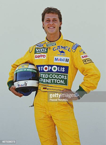 Michael Schumacher of Germany and driver of the Camel Benetton Ford Benetton B191B Ford HB V8 poses for a portrait during practice for the Yellow...