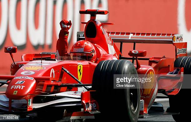Michael Schumacher of Germany and Ferrari celebrates after victory at the Italian Grand Prix at the Autodromo Nazionale di Monza on September 10 in...