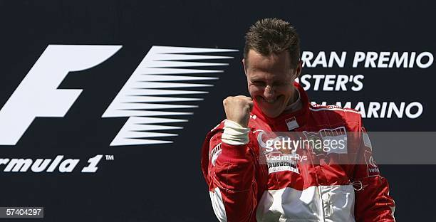 Michael Schumacher of Germany and Ferrari celebrates after winning the San Marino Formula One Grand Prix at the San Marino Circuit on April 23 in...