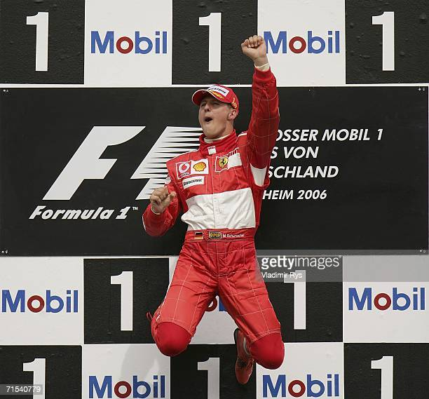 Michael Schumacher of Germany and Ferrari celebrates after winning the German Formula One Grand Prix at the Hockenheimring on July 30 2006 in...