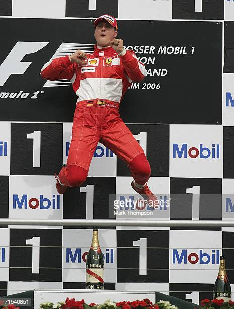 Michael Schumacher of Germany and Ferrari celebrates his win during the German Formula One Grand Prix at the Hockenheimring on July 30 2006 in...