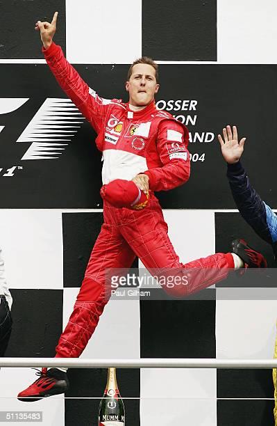 Michael Schumacher of Germany and Ferrari celebrates winning the German F1 Grand Prix at the Hockenheim Circuit on July 25 in Hockenheim, Germany....