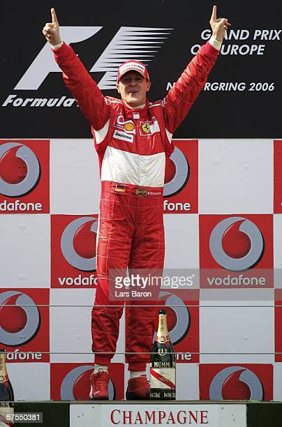 Michael Schumacher of Germany and Ferrari celebrates winning the F1 Grand prix of Europe at the Nurburgring on May 7 in Nurburg Germany