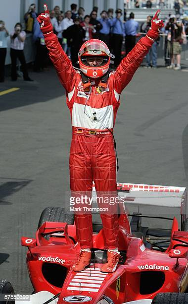 Michael Schumacher of Germany and Ferrari celebrates winning the European F1 Grand Prix at the Nurburgring on May 7 in Nurburg Germany