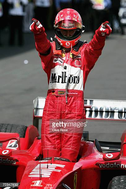 Michael Schumacher of Germany and Ferrari celebrates winning the European F1 Grand Prix on May 30 at the Nurburgring in Nurburg Germany