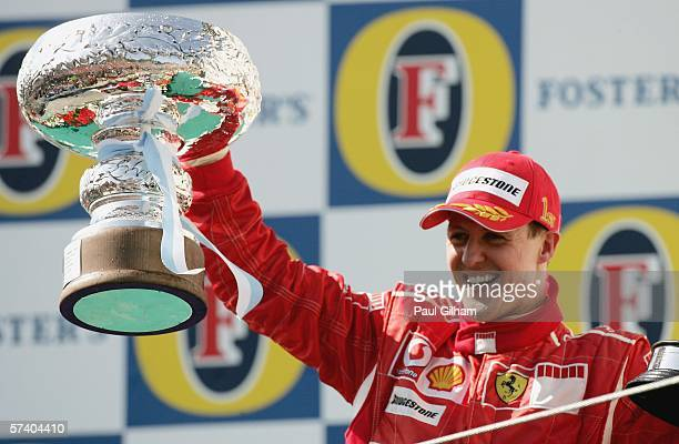 Michael Schumacher of Germany and Ferrari celebrates winning the San Marino Formula One Grand Prix at the San Marino Circuit on April 23 in Imola...