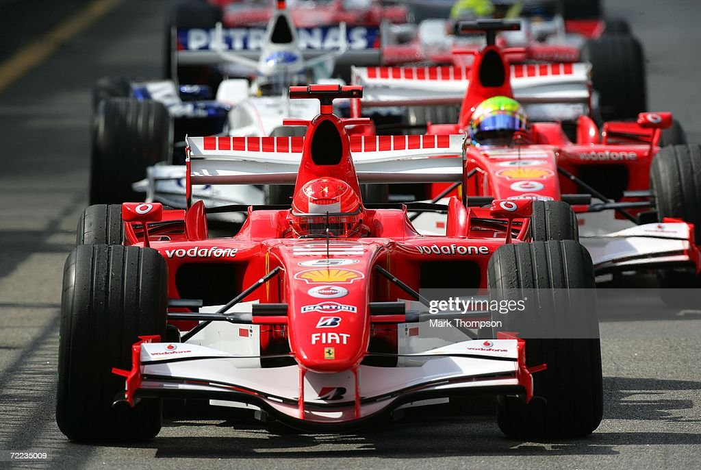 Michael Schumacher of Germany and Ferrari drives in the qualifying session of the Brazilian Formula One Grand Prix at the Autodromo Interlagos on October 21, 2006 in Sao Paulo, Brazil.
