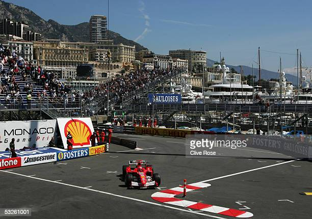 Michael Schumacher of Germany and Ferrari during practice for the Monaco F1 Grand Prix on May 19 in Monte Carlo Monaco