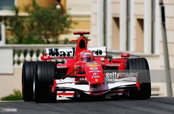 Michael Schumacher of Germany and Ferrari during practice prior to qualifying for the Monaco Formula One Grand Prix at the Monte Carlo Circuit on May...