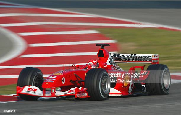 Michael Schumacher of Germany and Ferrari in action during Formula One testing at the Circuit de Catalunya on January 22, 2004 in Barcelona, Spain.