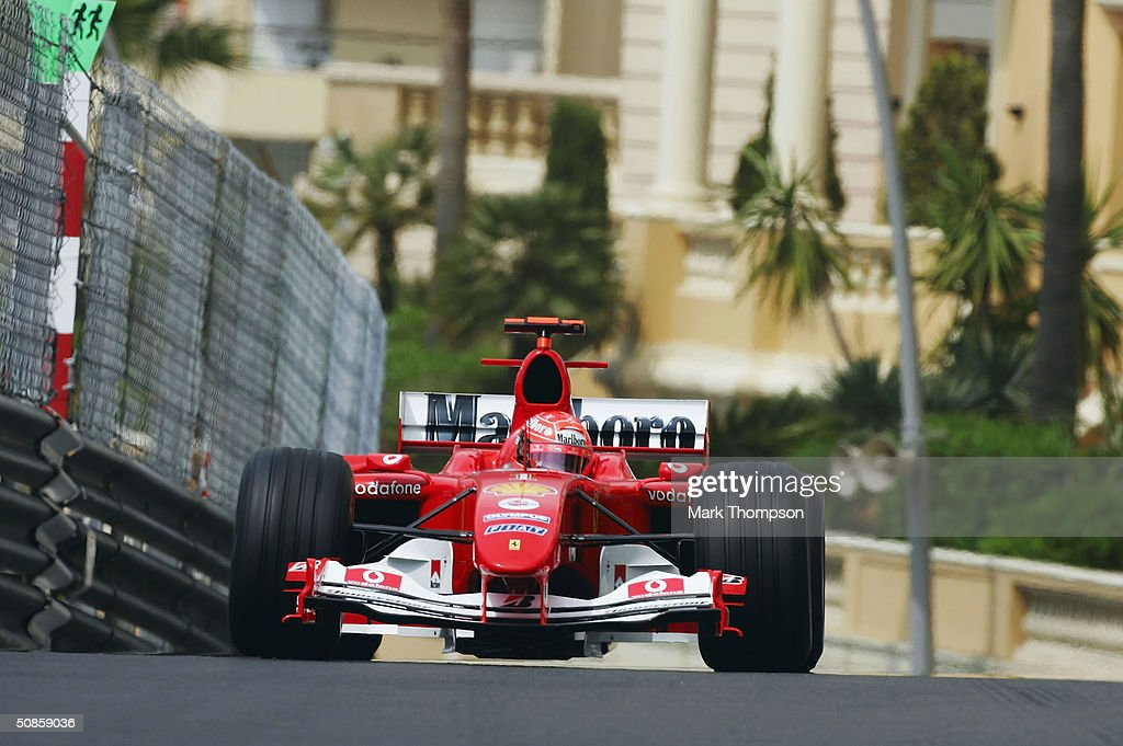 Michael Schumacher of Germany and Ferrari in action during practice for the Monaco F1 Grand Prix on May 20, 2004, in Monte Carlo, Monaco.