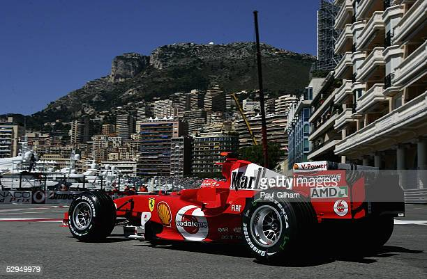 Michael Schumacher of Germany and Ferrari in action during practice for the Monaco F1 Grand Prix on May 19 in Monte Carlo, Monaco.