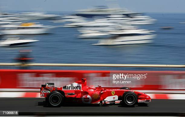 Michael Schumacher of Germany and Ferrari in action during qualifying for the Monaco Formula One Grand Prix at the Monte Carlo Circuit on May 27 in...
