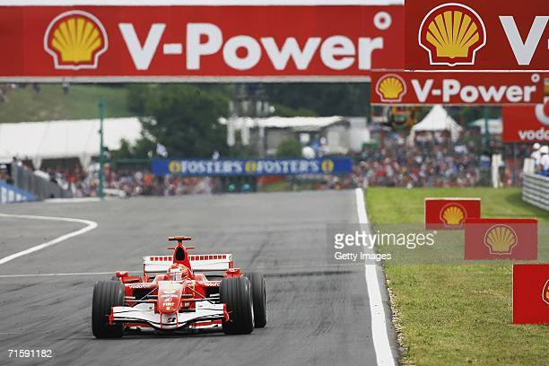 Michael Schumacher of Germany and Ferrari in action during qualifying for the Hungarian Formula One Grand Prix at the Hungaroring on August 5 in...
