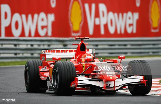 Michael Schumacher of Germany and Ferrari in action during second practice for the Hungarian Formula One Grand Prix at the Hungaroring on August 4 in...