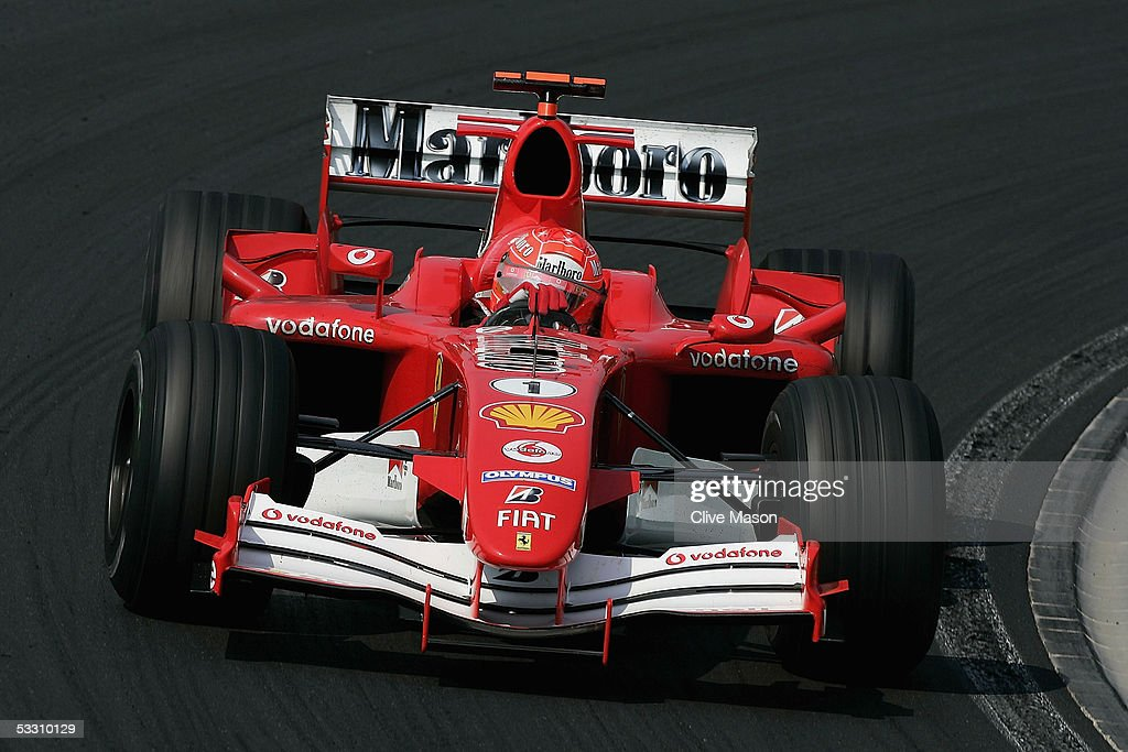 Michael Schumacher of Germany and Ferrari in action during the Hungarian F1 Grand Prix at the Hungaroring on July 31, 2005 in Budapest, Hungary.