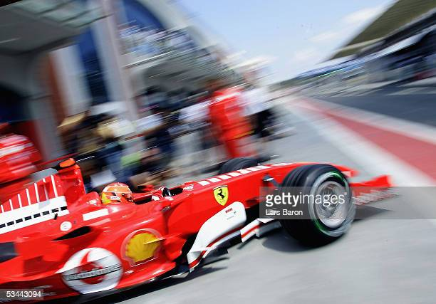 Michael Schumacher of Germany and Ferrari in action during the qualifying for the Turkish F1 Grand Prix at the Istanbul Otodrome on August 20, 2005...