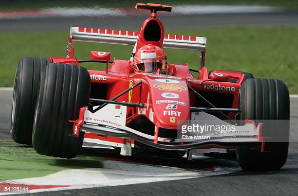 Michael Schumacher of Germany and Ferrari in action during the practice session for the Italian F1 Grand Prix at the Autodromo Nazionale di Monza...