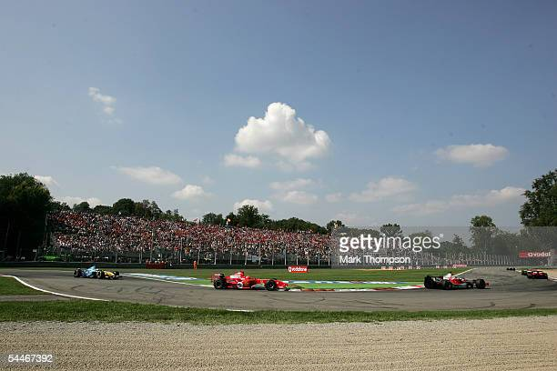 Michael Schumacher of Germany and Ferrari in action during the Italian Grand Prix at the Autodromo Nationale di Monza circuit on September 4 2005 in...