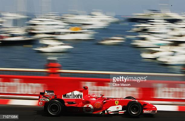 Michael Schumacher of Germany and Ferrari in action during the Monaco Formula One Grand Prix at the Monte Carlo Circuit on May 28 in Monte Carlo...