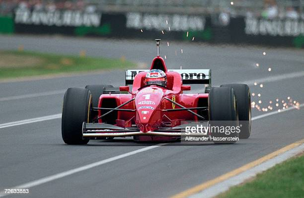 Michael Schumacher of Germany and Ferrari in action during the Formula One Grand Prix of Australia on March 10 1996 in Melbourne Australia