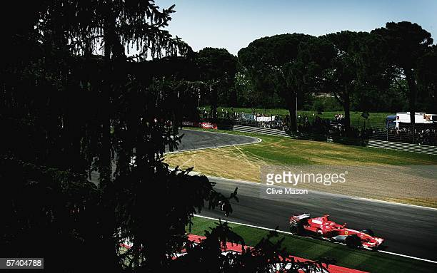 Michael Schumacher of Germany and Ferrari in action during the San Marino Formula One Grand Prix at the San Marino Circuit on April 23 in Imola Italy