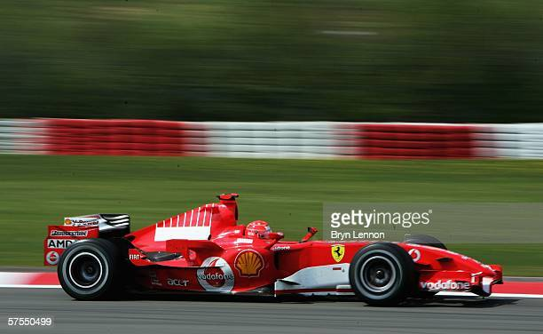 Michael Schumacher of Germany and Ferrari in action on his way to winning the European F1 Grand Prix at the Nurburgring on May 7 in Nurburg, Germany.