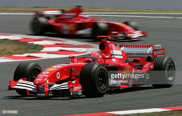 Michael Schumacher of Germany and Ferrari leads Rubens Barrichello of Brazil and Ferrari during the French F1 Grand Prix at the Circuit Nevers on...