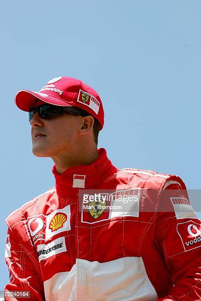 Michael Schumacher of Germany and Ferrari looks on before the Brazilian Formula One Grand Prix at the Autodromo Interlagos on October 22 2006 in Sao...