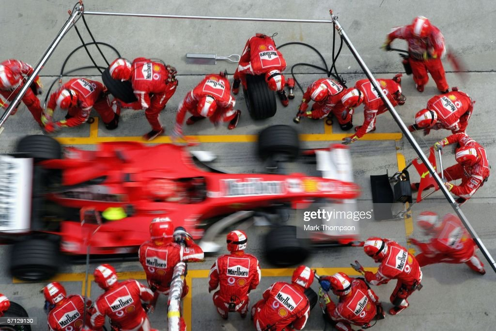Michael Schumacher of Germany and Ferrari makes a pit stop during the Malaysian Formula One Grand Prix at the Sepang Circuit on March 19, 2006, in Kuala Lumpur, Malaysia.