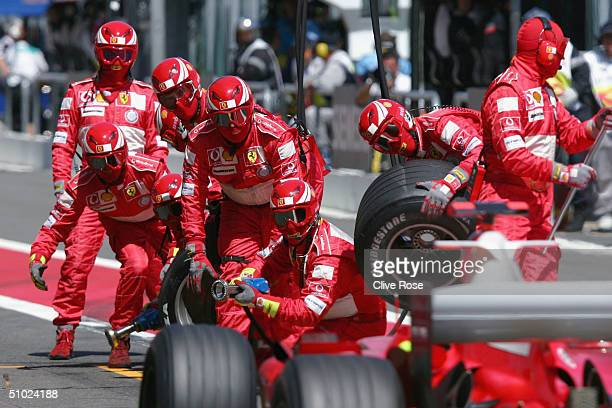 Michael Schumacher of Germany and Ferrari makes his final pit-stop during the French F1 Grand Prix at the Magny-Cours Circuit on July 4 in...