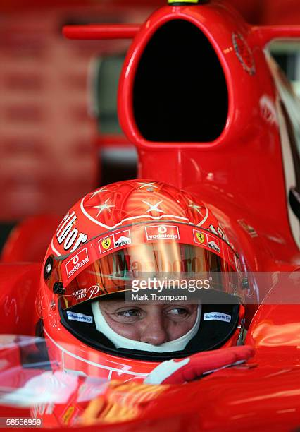 Michael Schumacher of Germany and Ferrari sits in his cockpit during Formula One testing at the Circuito De Jerez on January 10 2006 in Jerez Spain