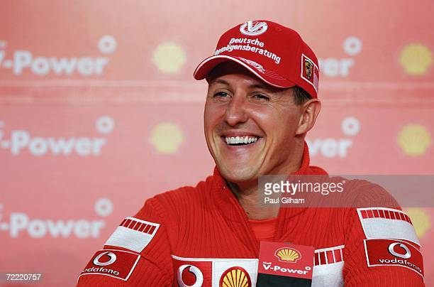 Michael Schumacher of Germany and Ferrari talks to the media during a Shell Press Conference at the Transamerica Hotel during the previews to the...