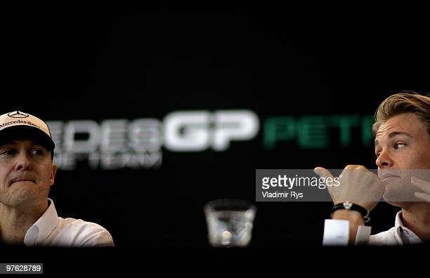 Michael Schumacher of Germany and Mercedes GP and Nico Rosberg of Germany and Mercedes GP appear at a media breakfast press conference on March 11...