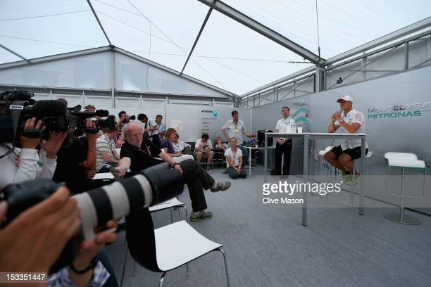 Michael Schumacher of Germany and Mercedes GP announces his retirement at the end of the season during previews for the Japanese Formula One Grand...