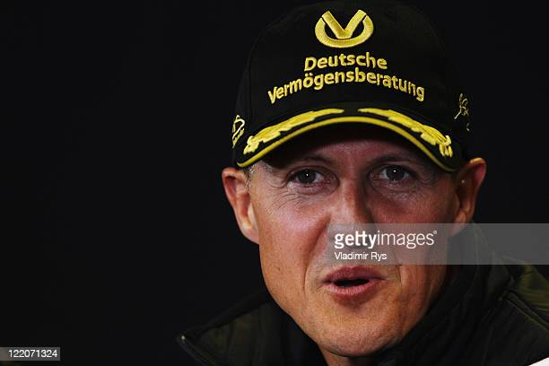 Michael Schumacher of Germany and Mercedes GP attends the drivers press conference during previews to the Belgian Formula One Grand Prix at the...