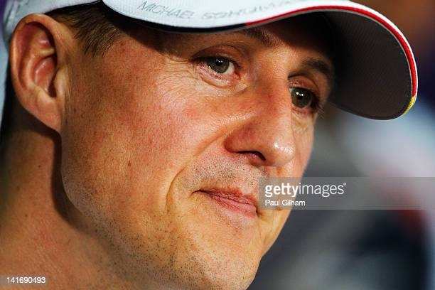 Michael Schumacher of Germany and Mercedes GP attends the drivers press conference during previews to the Malaysian Formula One Grand Prix at the...