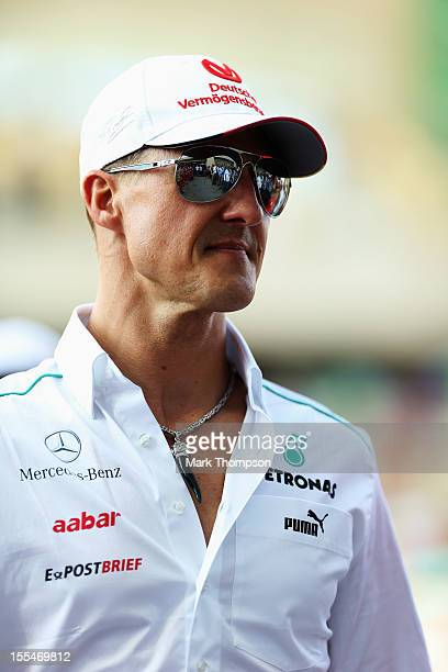 Michael Schumacher of Germany and Mercedes GP attends the drivers parade before the Abu Dhabi Formula One Grand Prix at the Yas Marina Circuit on...