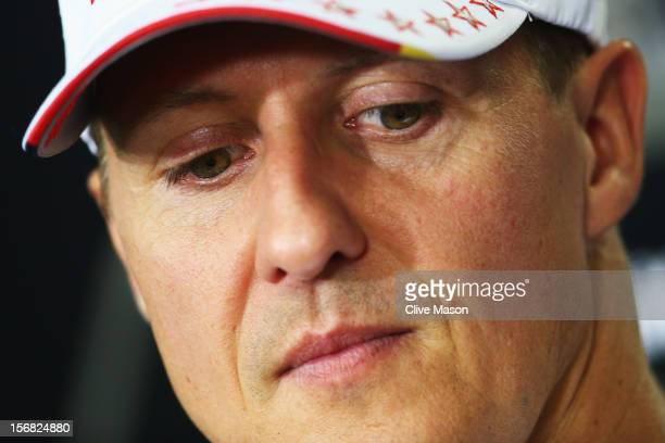 Michael Schumacher of Germany and Mercedes GP attends the drivers press conference during previews for the Brazilian Formula One Grand Prix at the...