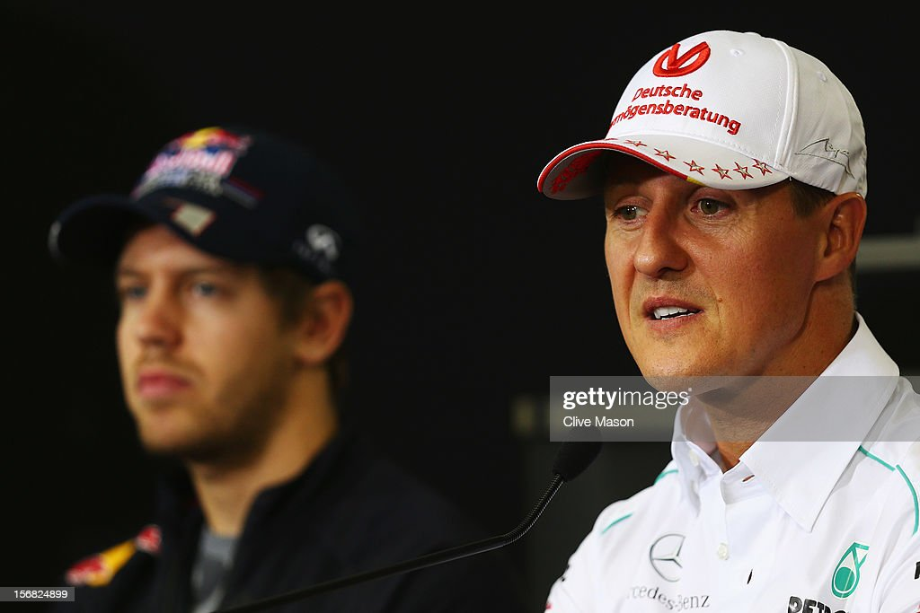 Michael Schumacher of Germany and Mercedes GP attends the drivers press conference during previews for the Brazilian Formula One Grand Prix at the Autodromo Jose Carlos Pace on November 22, 2012 in Sao Paulo, Brazil.