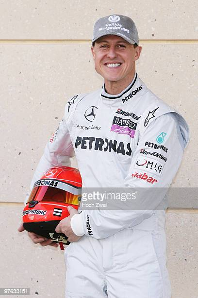 Michael Schumacher of Germany and Mercedes GP attends the drivers official portrait session during previews to the Bahrain Formula One Grand Prix at...