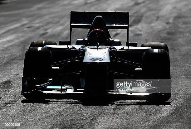 Michael Schumacher of Germany and Mercedes GP drives during day two of winter testing at the Circuito de Jerez on February 11 2011 in Jerez de la...