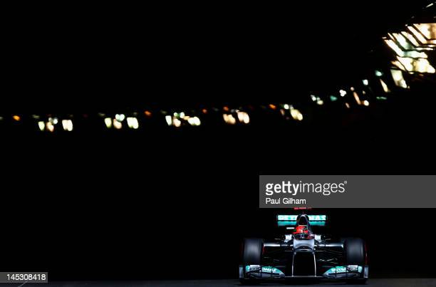 Michael Schumacher of Germany and Mercedes GP drives during qualifying for the Monaco Formula One Grand Prix at the Circuit de Monaco on May 26 2012...